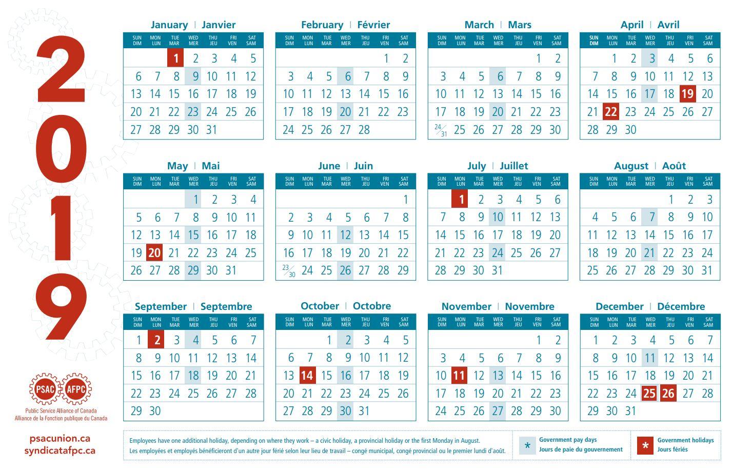 PSAC calendars | Public Service Alliance of Canada
